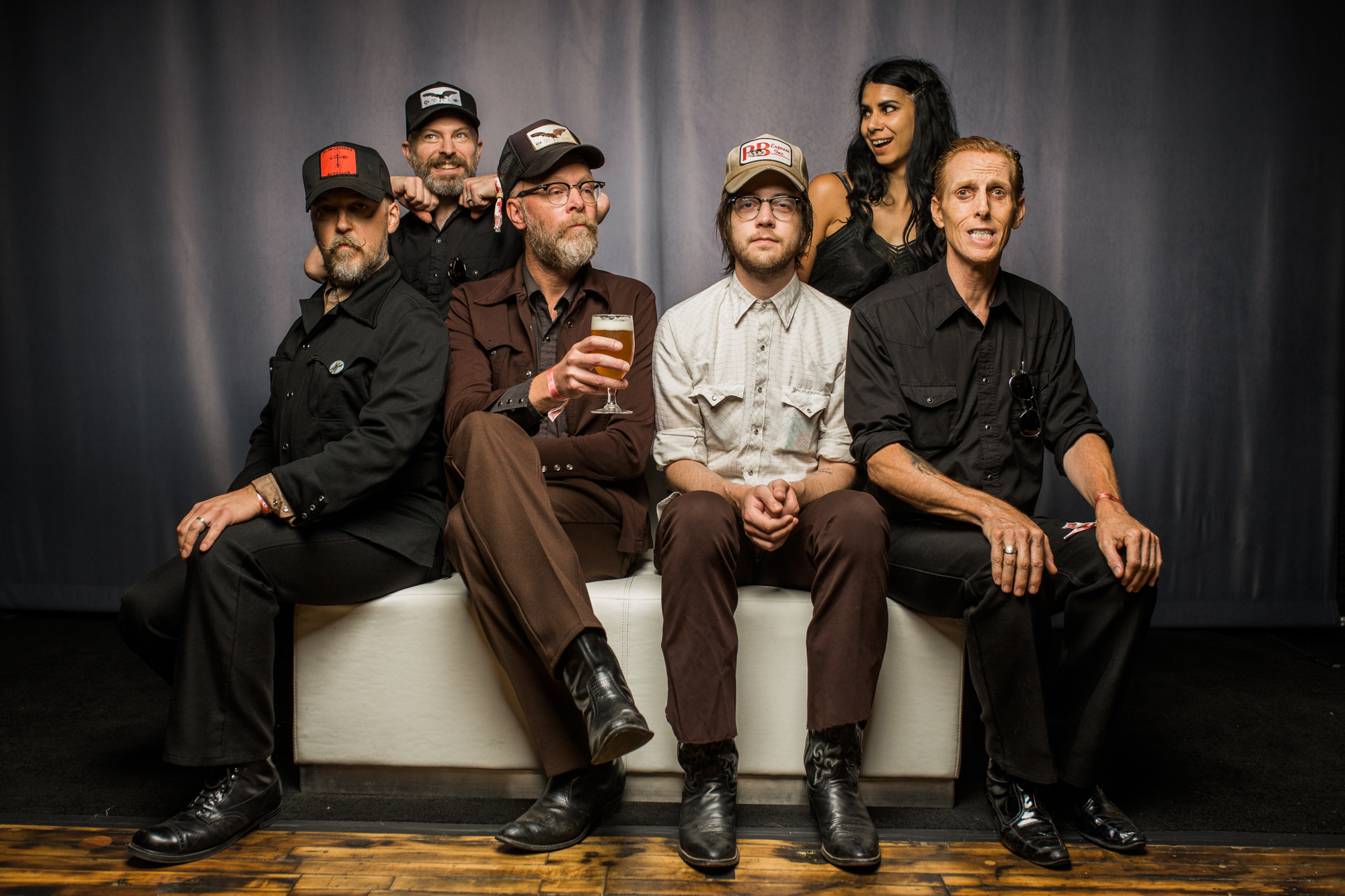 slim cessna's auto club group photo munly george andrew warner rebecca vera lord dwight pentacost seated sitting smiling happy